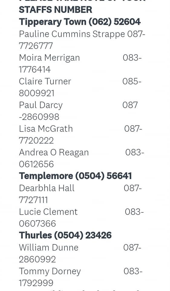 Please take note of our most up to date numbers for our frontline staff👌 more updates to follow👌 #WereInThisTogether pick up the phone or leave a message😊 #youthworktipperary #youthworks