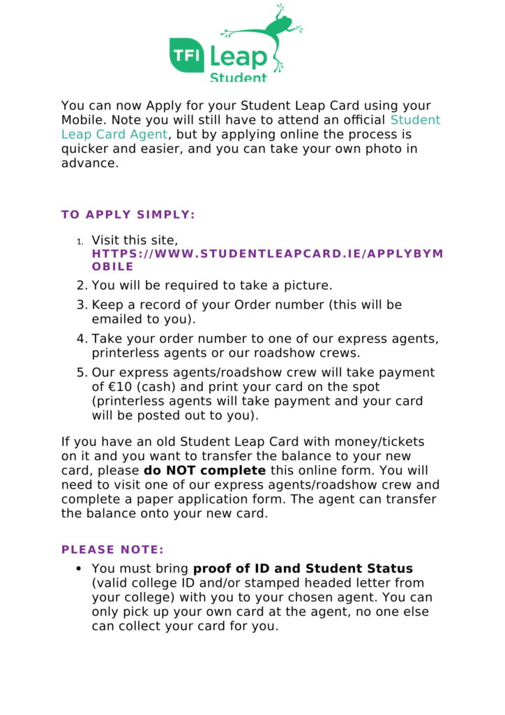 How To Apply For Your Student Leap Card Online