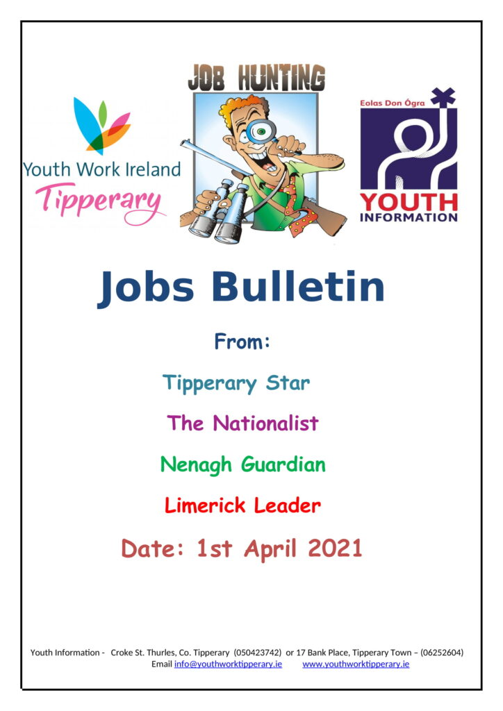 Jobs Bulletin 1st April 2021